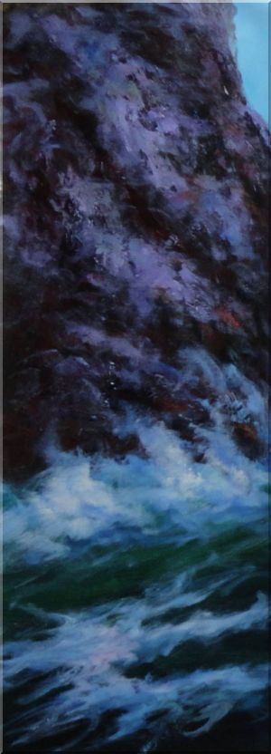 Sea Waves Crash Against Rocks - 5 Canvas Set 5-canvas-set,seascape naturalism  36 x 65 inches
