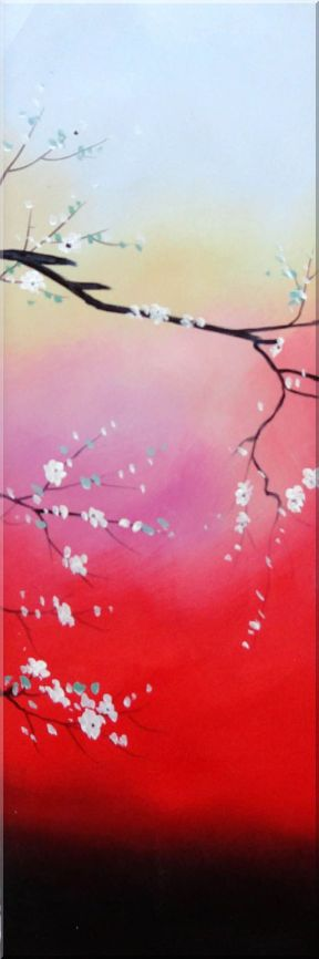 White and Purple Plum Tree in Blue,Pink and Red Background - 5 Canvas Set 5-canvas-set,flower asian  36 x 60 inches