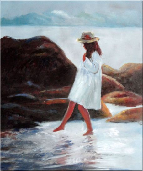 A Loverly Young Girl Playing Water at Beach Oil Painting Portraits Child Impressionism 24 x 20 Inches
