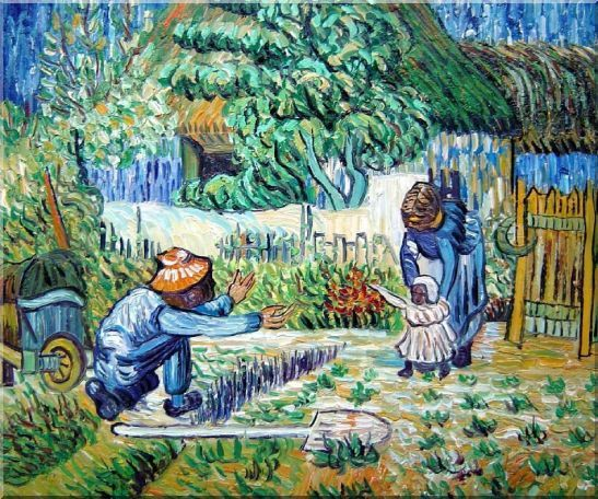 First Steps, Farmer's Life, Van Gogh Oil Painting Village Post Impressionism 20 x 24 Inches