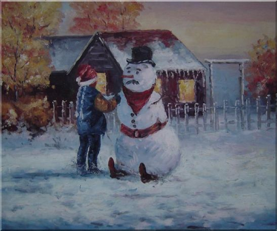 Make a Snowman In Christmas Oil Painting Portraits Child Impressionism 20 x 24 Inches