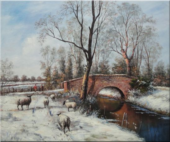 Sheep at White Snow Covered Riverside in Winter Oil Painting Animal Classic 20 x 24 Inches