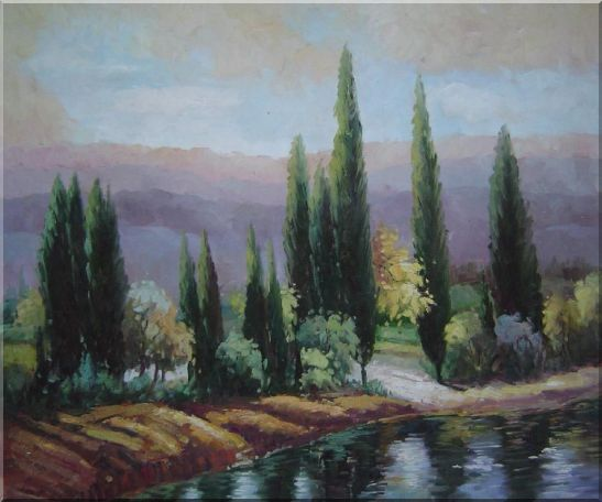 Tall Green Trees on River Bank Oil Painting Landscape Classic 20 x 24 Inches