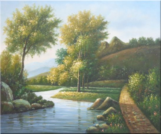 Trees, Wild Flowers Path, and Winding Small River Oil Painting Landscape Classic 20 x 24 Inches