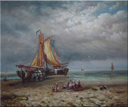 Commerce Ships On Beach Oil Painting Boat Classic 20 x 24 Inches