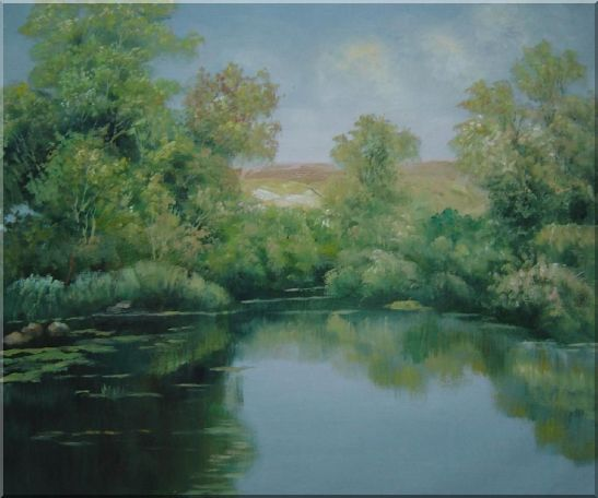 Green Pond with Water Plants and Reflaction Oil Painting Landscape River Naturalism 20 x 24 Inches
