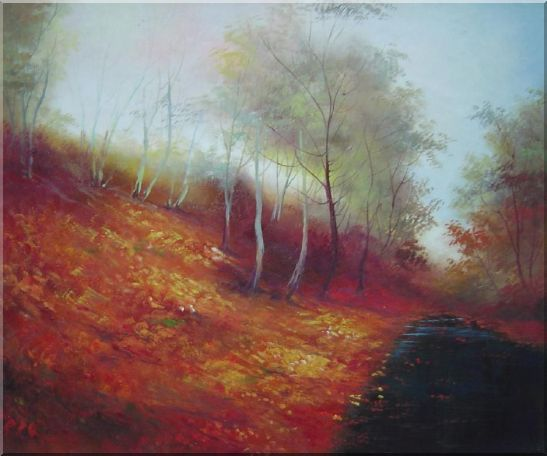 Water Stream in a Ditch Full of Red Foliage Oil Painting Landscape River Naturalism 20 x 24 Inches