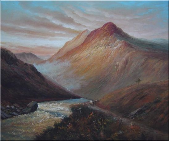 Water Weir Under Giant Mountain Oil Painting Landscape Classic 20 x 24 Inches