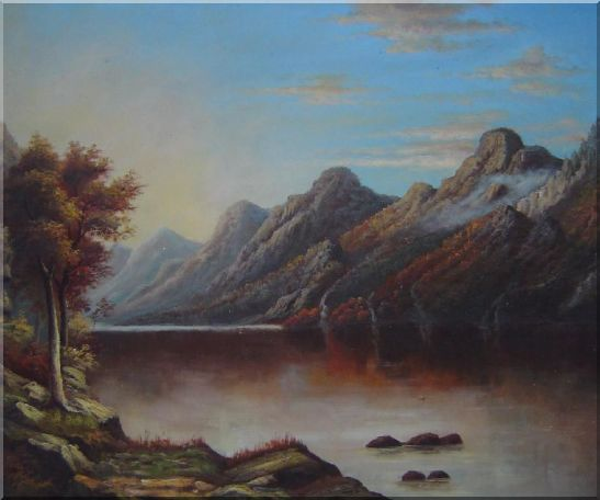 Lake with Trees and Mountains in Autumn Oil Painting Landscape Classic 20 x 24 Inches