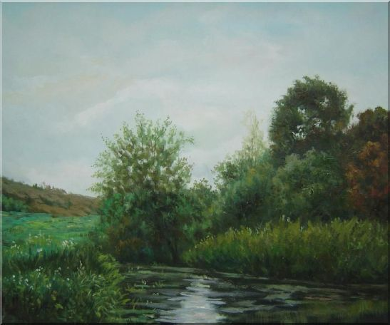 A Green Pond Covered with Lotus, Weeds and Floating Plants Oil Painting Landscape River Classic 20 x 24 Inches