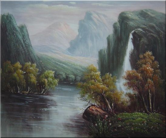 Mountain Area Waterfall Rush Down to River Oil Painting Landscape Classic 20 x 24 Inches