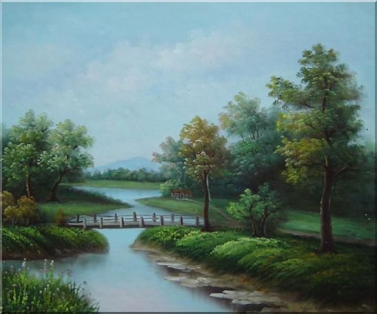 Wood Bridge Over a Scenic River Oil Painting Landscape Classic 20 x 24 Inches