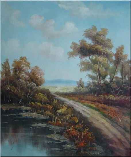 Country Road, Take Me Home Oil Painting Landscape River Classic 24 x 20 Inches