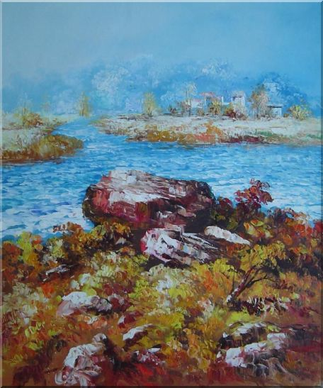 Limpid Water In Autumn Oil Painting Seascape Impressionism 24 x 20 Inches