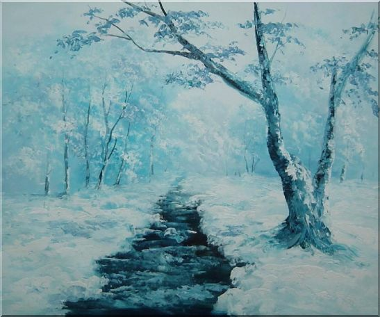 Ground Frozen in Winter Falling White Snow Oil Painting Landscape River Naturalism 20 x 24 Inches