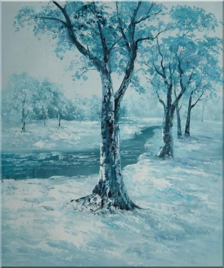 River Passing by Snow Covered Field Oil Painting Landscape Winter Naturalism 24 x 20 Inches