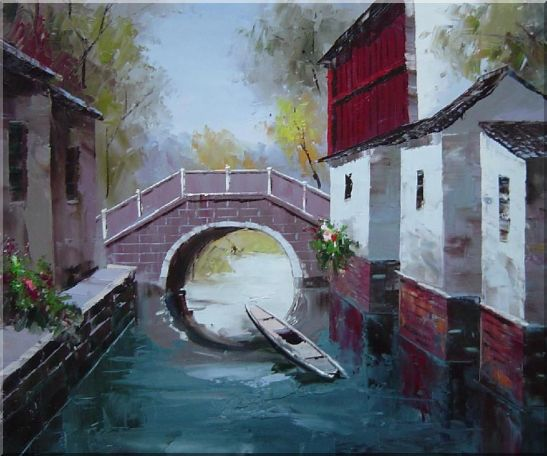 Boat Sitting Idle Under Bridge at Water Village Oil Painting China Naturalism 20 x 24 Inches