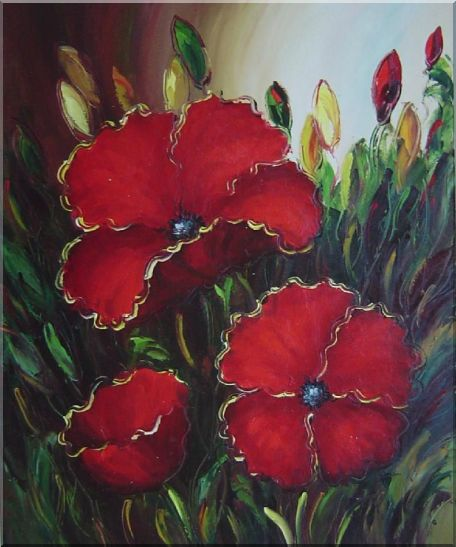 Scarlet Red Flowers Oil Painting Impressionism 24 x 20 Inches