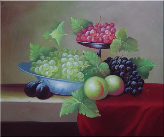 Still Life With Peaches And Grapes Oil Painting Fruit Classic 20 x 24 Inches