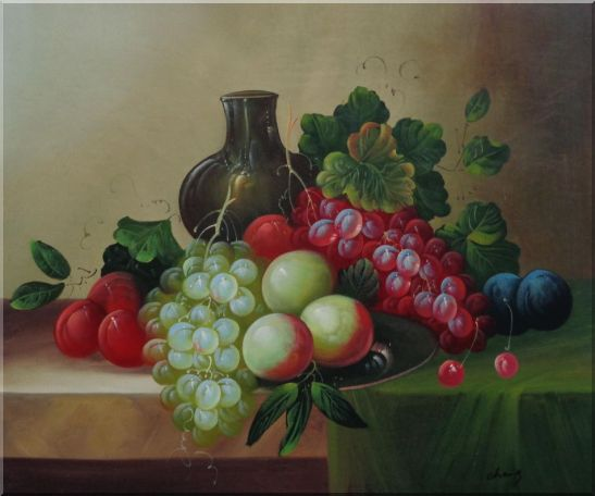 Grapes, Peaches, Plums, with Black Jar in Still Life Oil Painting Fruit Wine Classic 20 x 24 Inches