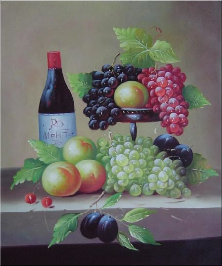 Still Life with Wine Bottle, Grapes, Peaches and Plums Oil Painting Fruit Classic 24 x 20 Inches