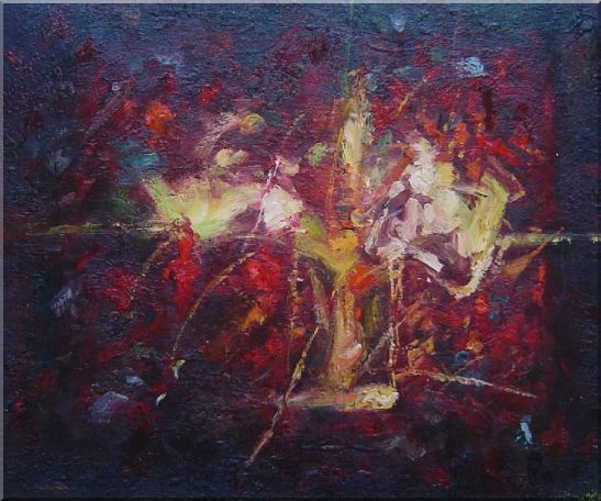 Modern Flower in a Strong Red Background Oil Painting Nonobjective 20 x 24 Inches