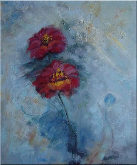 Two Red Flowers in a Light Blue Background Oil Painting Modern 24 x 20 Inches