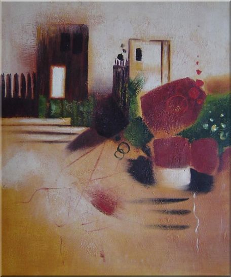 Objects in Front of Wall with Doors Oil Painting Cityscape Decorative 24 x 20 Inches