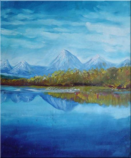 Reflections of Snow Mountains and Yellow Trees on Lake Oil Painting Landscape River Impressionism 24 x 20 Inches