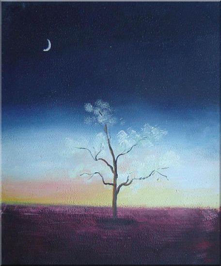 Lonely Tree Under Crescent Moon Oil Painting Landscape Impressionism 24 x 20 Inches