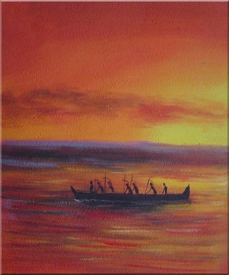 Boating Oil Painting Seascape Modern 24 x 20 Inches