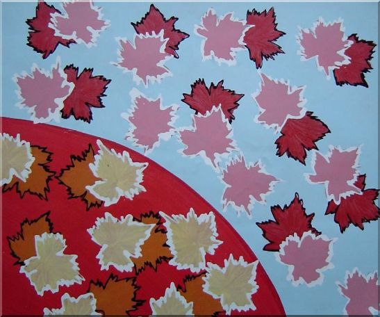 Red Maple Leaf Modern Oil Painting Flower 20 x 24 Inches