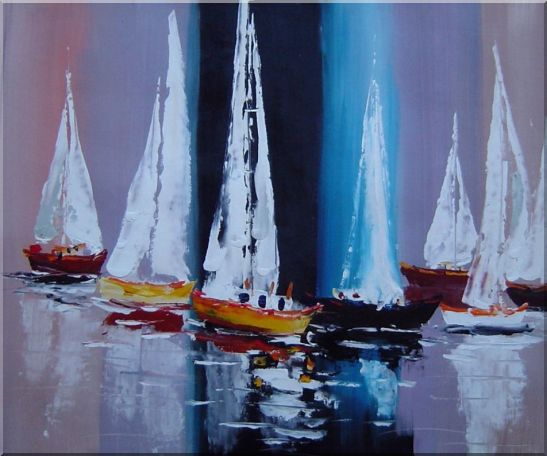 Fully Riggled Sailing Boats Modern Oil Painting Boating 20 x 24 Inches