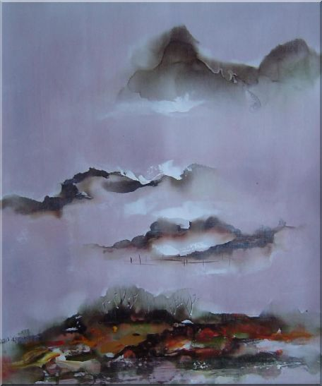 Mountains and Village in Clouds Oil Painting Landscape Asian 24 x 20 Inches