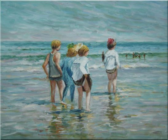 Summer day, Brighton Beach, Edward Henry Potthast Replica Oil Painting Portraits Child Impressionism 20 x 24 Inches