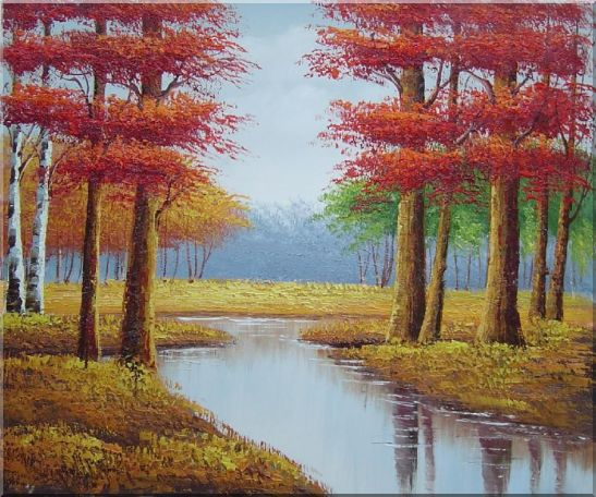 Autumn Colorful Scenery Landscape Oil Painting Tree Naturalism 20 x 24 Inches