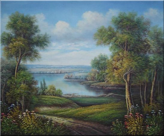 Amazing Trail Near a Peaceful Lake in A Splendid Landscape Oil Painting River Classic 20 x 24 Inches