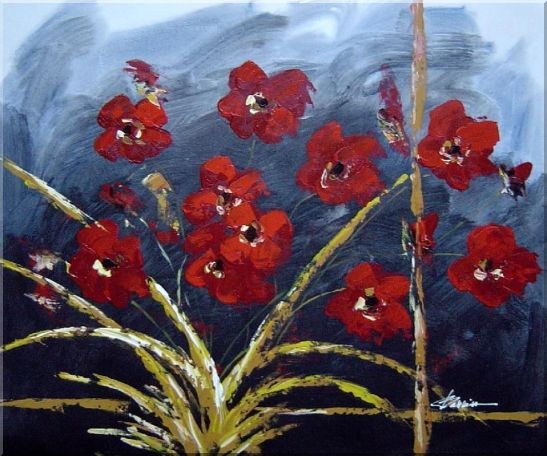 Modern Red Flowers in Blue Field Oil painting Decorative 20 x 24 Inches