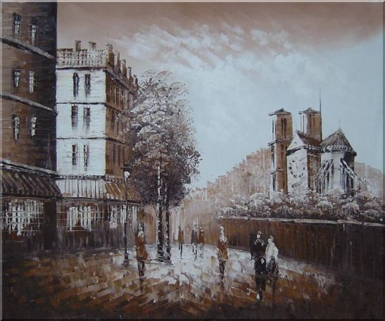 Pedestrian Walk on Street Scene at Dusk Near Notre Dame Oil Painting Cityscape France Impressionism 20 x 24 Inches