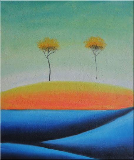 Two Abstract Yellow Aspen Trees in Summer Oil Painting Landscape Modern 24 x 20 Inches