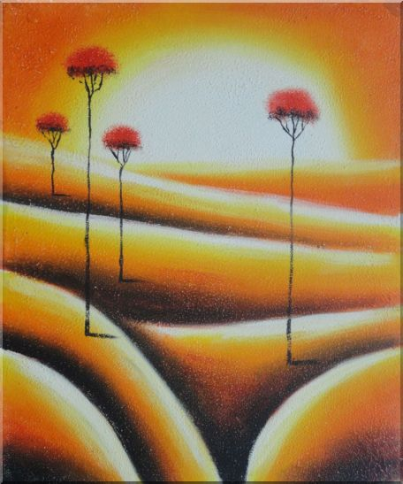 Four Abstract Red Trees in Yellow Light Oil Painting Landscape Modern 24 x 20 Inches