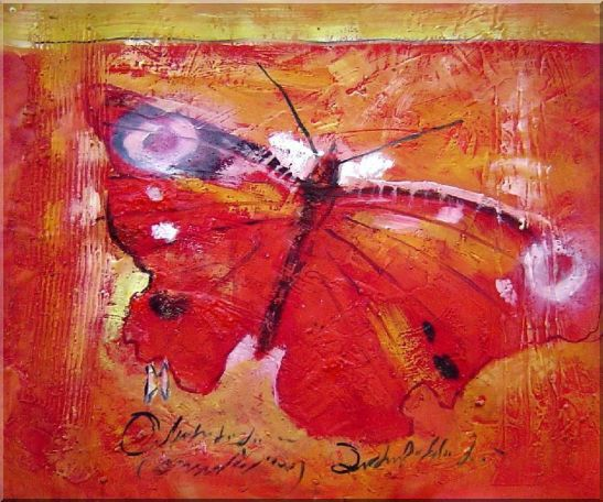 Red Butterfly In Red Background Oil Painting Animal Modern 20 x 24 Inches