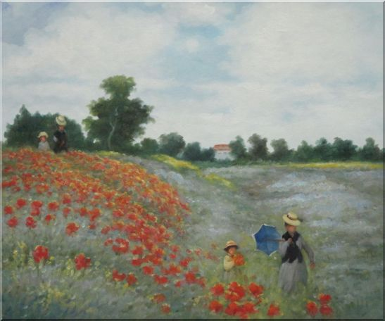 Field of Poppies, Monet Replica Oil Painting Landscape Portraits Impressionism 20 x 24 Inches