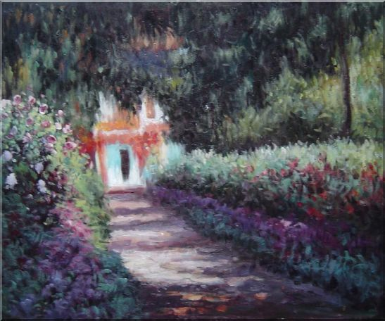 The Garden in Flower, Monet Reproduction Oil Painting France Impressionism 20 x 24 Inches