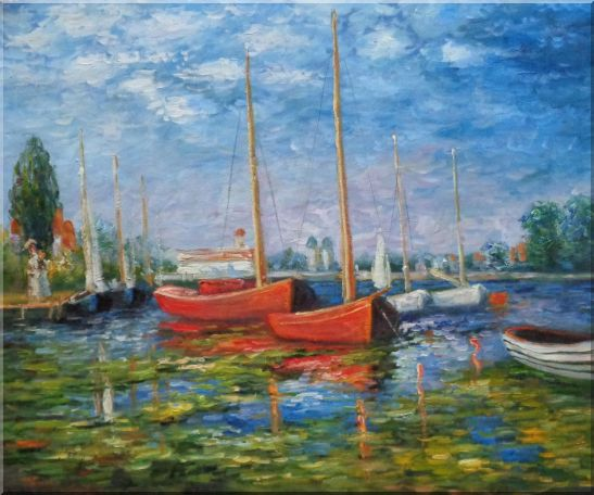 Red Boats at Argenteuil, Monet Replica Oil Painting Impressionism 20 x 24 Inches