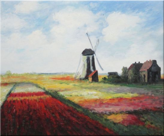 Tulip Field with Rijnburg Windmill, Monet Replica Oil Painting Landscape Impressionism 20 x 24 Inches