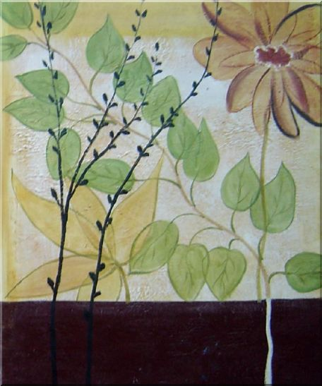 Blooming Flowers with Green Leaves - 2 Canvas Set 2-canvas-set,flower asian  24 x 40 inches
