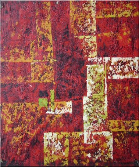 Red and Yellow Abstract Oil Painting Nonobjective Modern 24 x 20 Inches