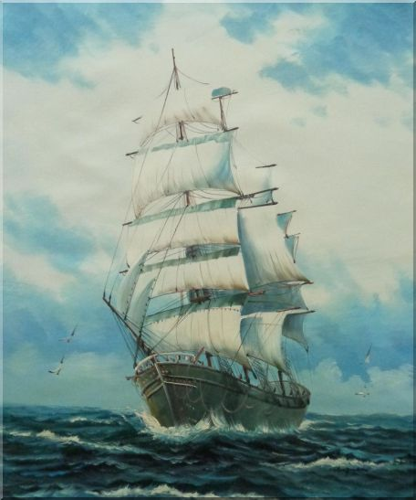 Sailing Ship's Oceangoing Voyage Oil Painting Boat Classic 24 x 20 Inches