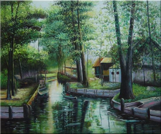 Lady on a Wooden Boat in Quiet Rural Stream Oil Painting Village Classic 20 x 24 Inches